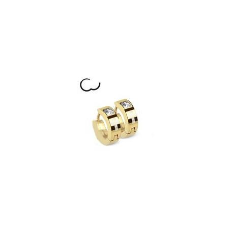 Boucles d'Oreille anneau doré motif Croix et cristal