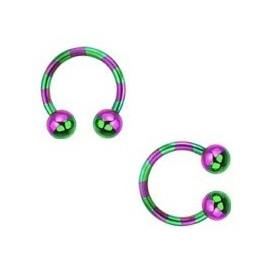 Piercing fer a cheval pour labret arcade piercing oreille et septum en plaqué titane 1.2 mm couleur violet et vert pas cher