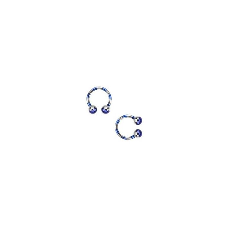 Piercing fer a cheval pour labret arcade piercing oreille et septum en plaqué titane 1.2 mm couleur bleu et acier pas cher
