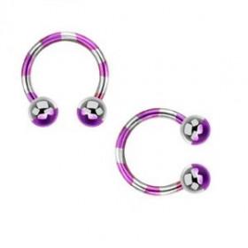 Piercing fer a cheval diamètre 1.6 mm en acier chirurgical plaqué titane de couleur violet et acier pour nombril, piercing téton