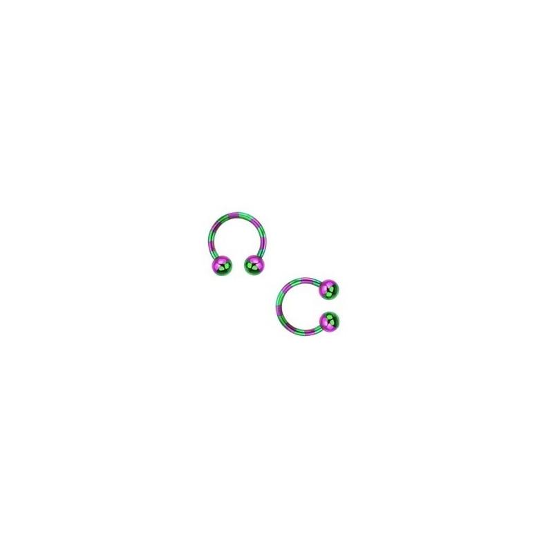 Piercing fer a cheval diamètre 1.6 mm en acier chirurgical plaqué titane de couleur violet et vert pour nombril, piercing téton