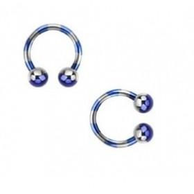 Piercing fer a cheval diamètre 1.6 mm en acier chirurgical plaqué titane de couleur bleu et acier pour nombril, piercing téton