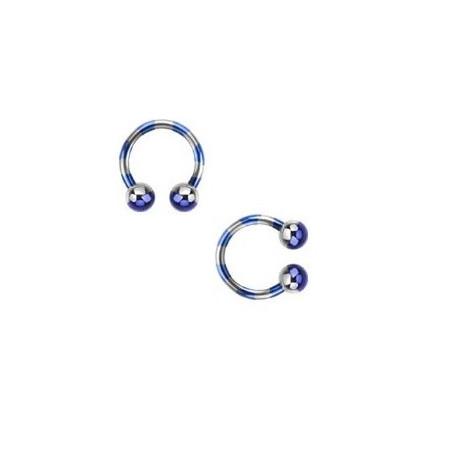 Piercing fer a cheval 1.6 mm plaqué titane bleu et acier