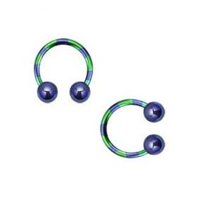 Piercing fer a cheval diamètre 1.6 mm en acier chirurgical plaqué titane de couleur bleu et vert pour nombril, piercing téton