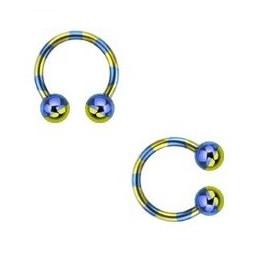 Piercing fer a cheval diamètre 1.6 mm en acier chirurgical plaqué titane de couleur bleu et jaune pour nombril, piercing téton