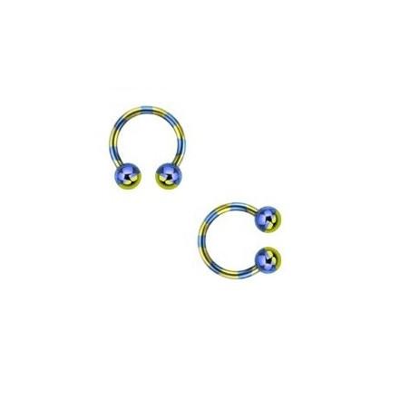Piercing fer a cheval 1.6 mm plaqué titane bleu et jaune