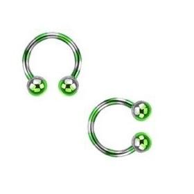 Piercing fer a cheval diamètre 1.6 mm en acier chirurgical plaqué titane de couleur vert et acier pour nombril, piercing téton