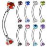 Piercing Arcade acier double cristal couleur pas de vis américain