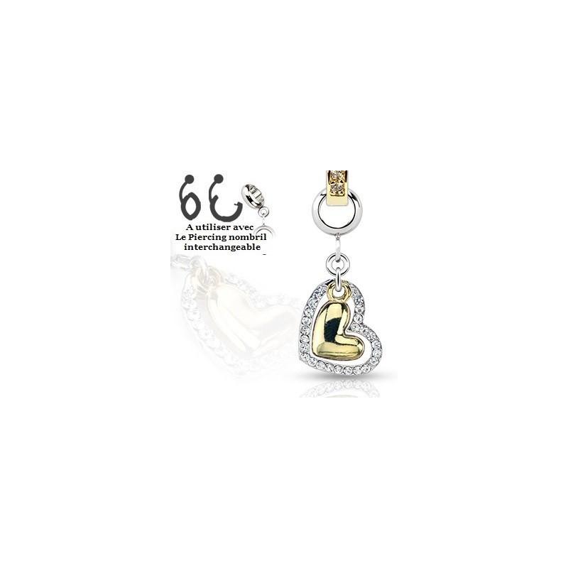 Piercing nombril interchangeable coeur acier et plaqué or