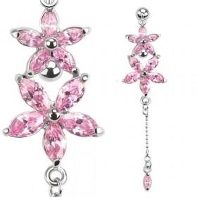 Piercing Nombril inversé motif Fleur cristal oxyde de zirconium de couleur rose en acier chirurgical