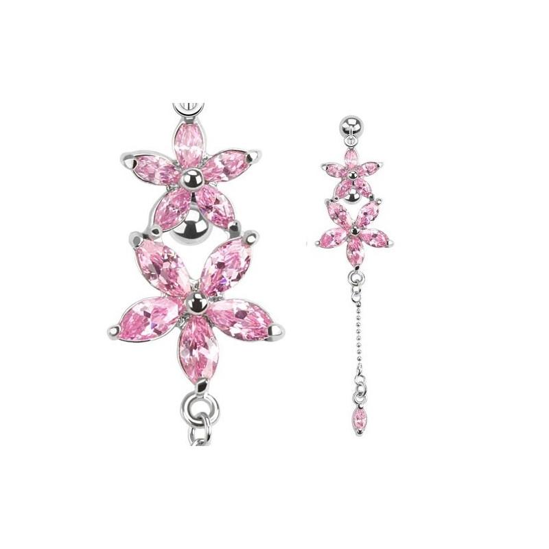 piercing nombril invers motif fleur rose piercing. Black Bedroom Furniture Sets. Home Design Ideas