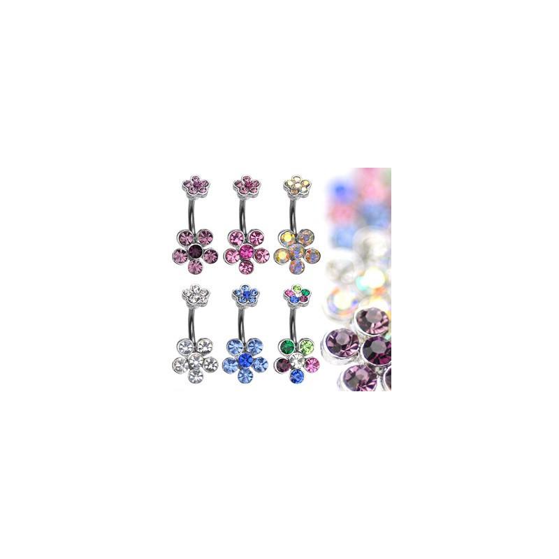 Piercing Nombril Fleur oxyde de zirconium couleur pas cher