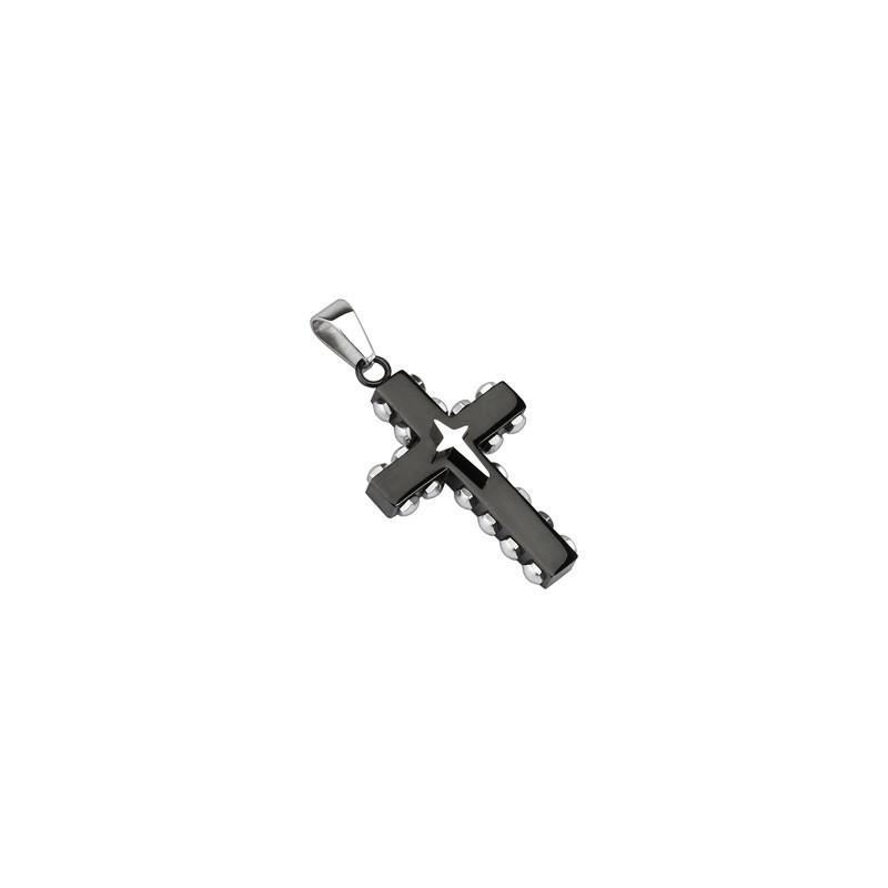 Pendentif pour homme en acier inoxydable de couleur noir motif croix rock