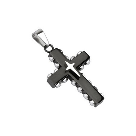 Pendentif croix noir en acier