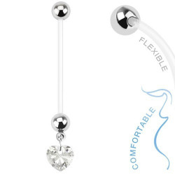 Piercing nombril de grossesse Coeur cristal Blanc