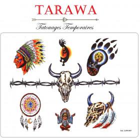 Tattoo temporaire motif indien d'Amérique attrape rêve et tête de buffles