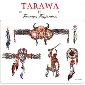 Tatouage temporaire guerrier indien tatoo ephémere motif tête de mort plume tête de bufle et tours de bras