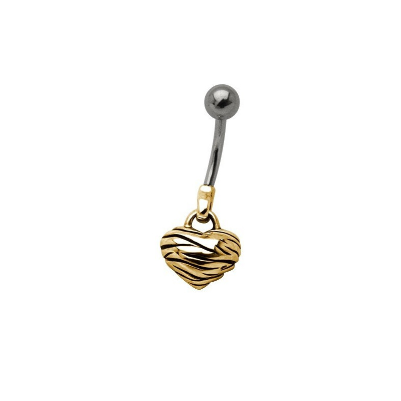 Piercing nombril pendentif coeur zebré plaqué or barre en acier chirurgical