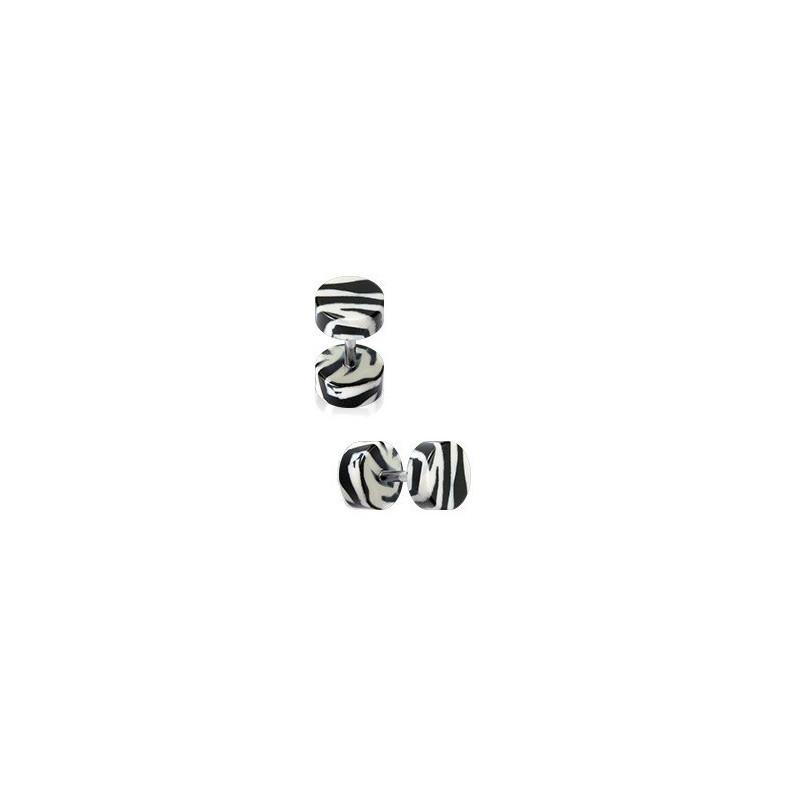 piercing pour oreille Faux écarteur motif zébré noir blanc en acrylique barre en acier chirurgical pas cher