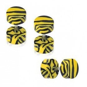 piercing oreille Faux écarteur motif zébré noir et jaune en acrylique barre en acier chirurgical pas cher
