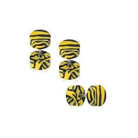 Faux écarteur zébré jaune et noir