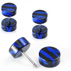 piercing oreille Faux écarteur motif zébré noir et bleu en acrylique barre en acier chirurgical pas cher