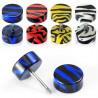 piercing oreille Faux plur d oreille motif zébré noir et bleu en acrylique barre en acier chirurgical pas cher
