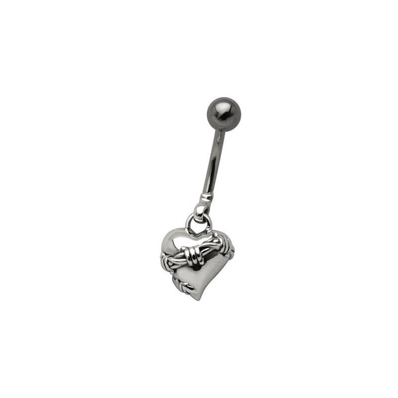 Piercing nombril barre en acier chirurgical pendentif coeur Babelé tout acier chirurgical sans strass