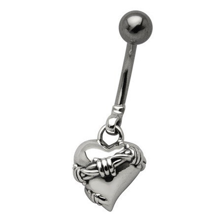 Piercing nombril pendentif coeur Babelé
