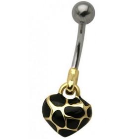 Piercing nombril coeur doré écaille de tortue piercing femme en acier chirurgical