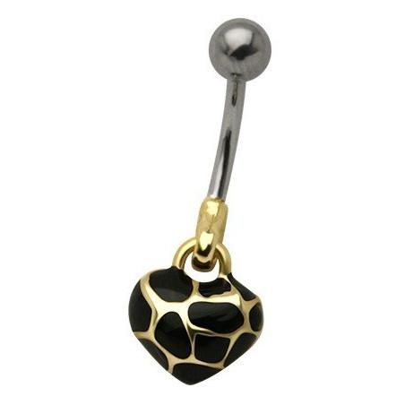 Piercing nombril pendentif coeur doré écaille de tortue