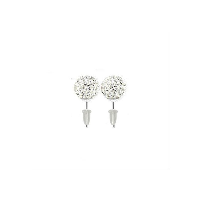 Boucle d'oreille boule cristal blanc barre en acier chirurgical fermoire plastique