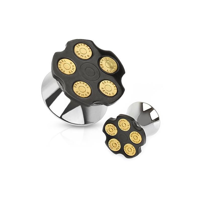 piercing Plug oreille acier motif barillet 5 coup haute qualité pas cher