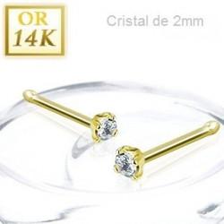 Piercing nez or jaune cristal 2 mm tige droite