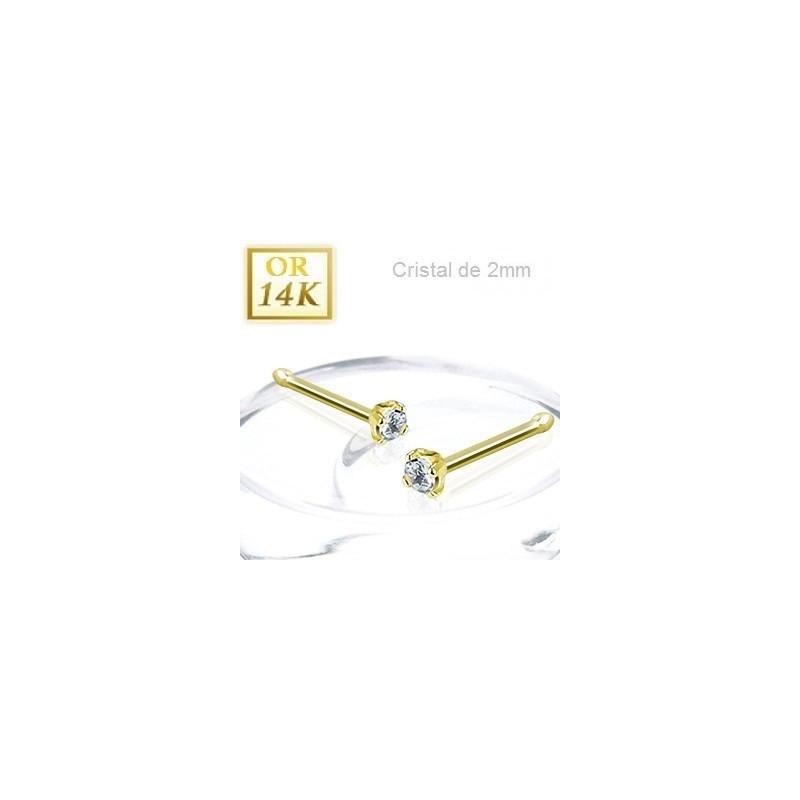 Piercing nez or jaune 14 carats cristal blanc 2 mm tige droite pas cher