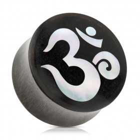 Piercing plug ecarteur en bois naturel motif en nacre représentant le Om de bouddha