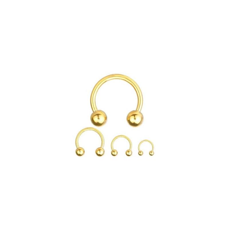 vente de Piercing Fer Titane 1.2mm bille 3mm piercing labret acier doré fer a cheval titane anodisé couleur or