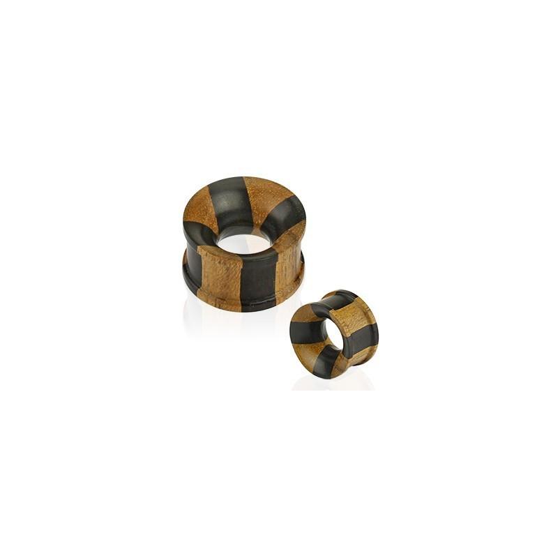 Piercing Plug tunnel écarteur organique en bois de teck 2 couleur noir et marron