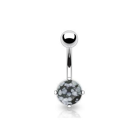 Piercing nombril pierre naturel obsidienne