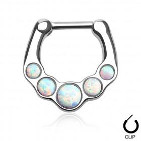 Piercing Septum à clip en acier chirurgical pierre naturel semi précieuse Opale blanche