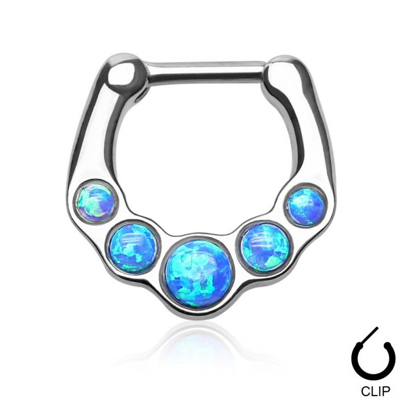 Piercing Septum en acier chirurgical clip Opale bleu pierre naturel semi précieuse