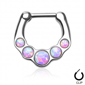 Piercing Septum à clip avec multi pierre naturel semi précieuse Opale de couleur violette violette