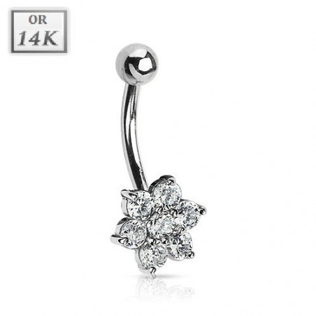 Piercing nombril Or blanc Fleur cristal