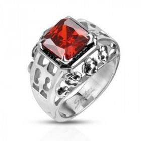 Bague chevalière acier pour femme motif fleur de lys royal rubis cristal rouge