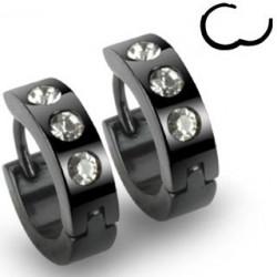 Boucles d'oreille anneau noir cristal