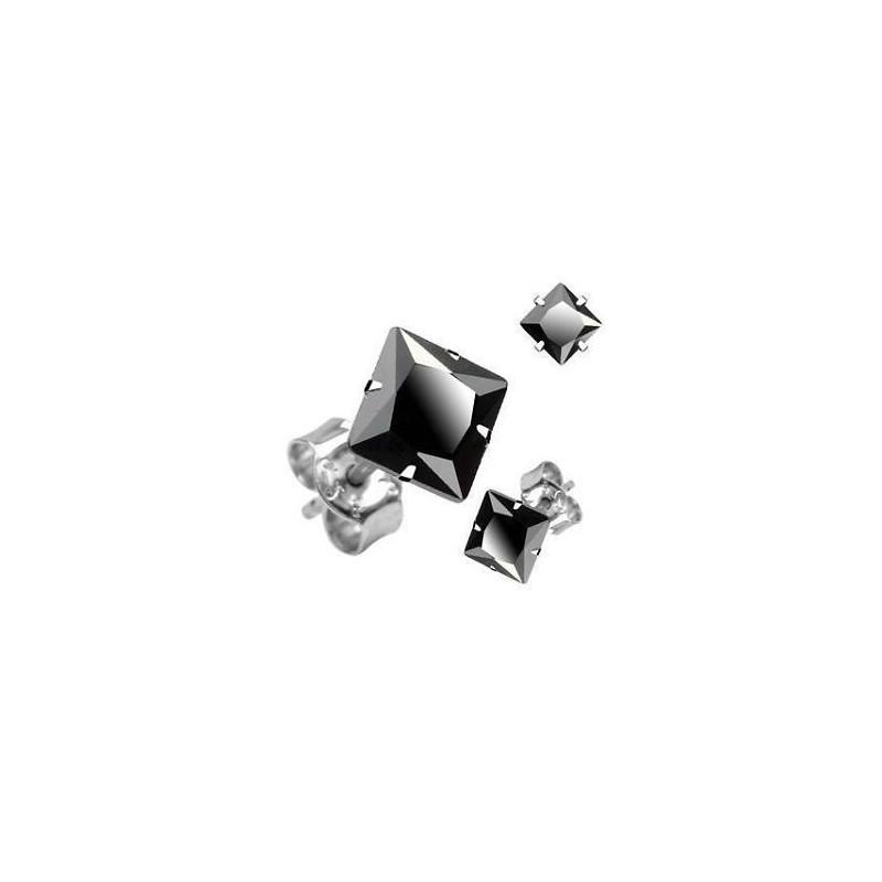 Boucle d'Oreille homme en acier chirurgical Cristal Carré Noir pas cher