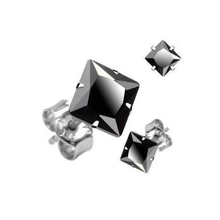 Boucle d'Oreille Cristal Carré Noir