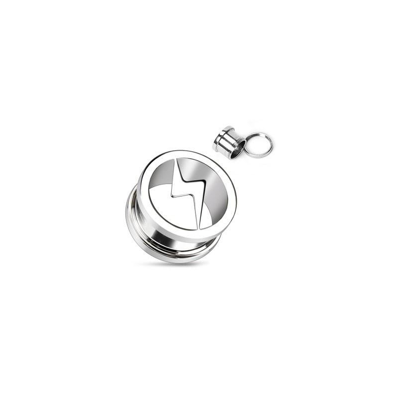 piercing tunnel Plug pour oreille motif éclaire en acier inoxydable