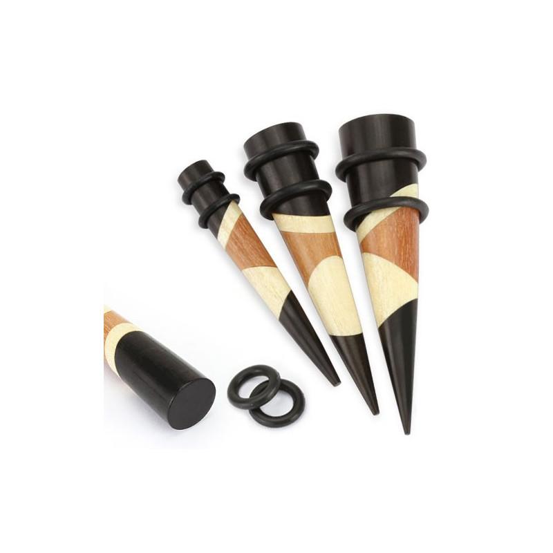 piercing écarteur Stretch en bois triple couleur