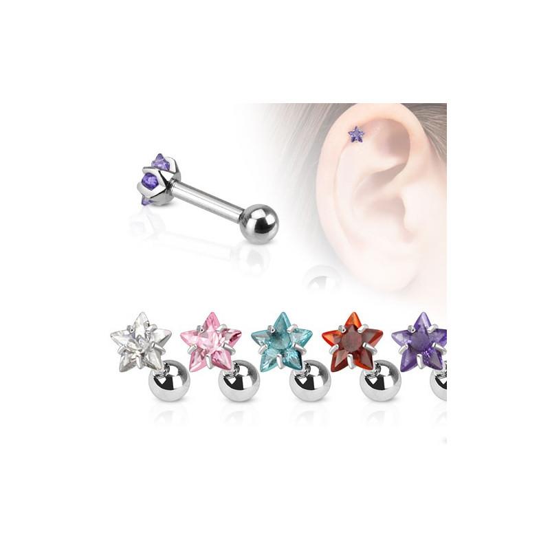 Piercing oreille acier chirurgical motif étoile cristal pour piercing tragus piercing hélix et cartilage